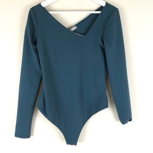 FREE PEOPLE Abbie Bodysuit Long Sleeve Green M NWT